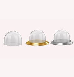 Realistic glass domes on isolated background vector
