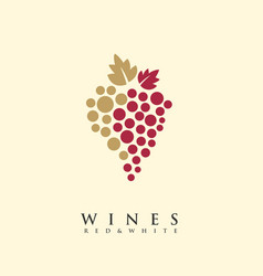 Red and white wines creative logo vector