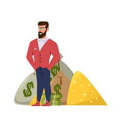 Rich millionaire relaxed businessman or wealthy vector