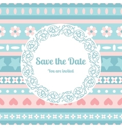Save the date card template with floral frame vector image