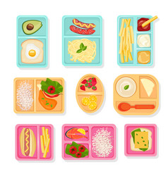 school food top view lunch boxes for children vector image