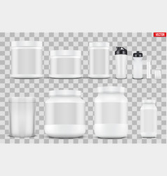 set mockup sport nutrition containers vector image