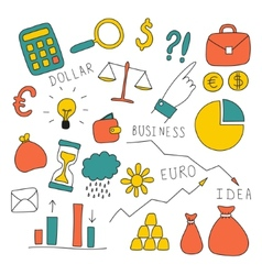 Set of doodle business and finance elements vector image