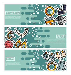 Set of horizontal banners about jeweler vector
