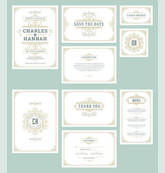 set wedding invitations cards flourishes ornaments vector image