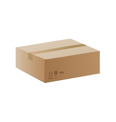 side view closed carton box realistic vector image