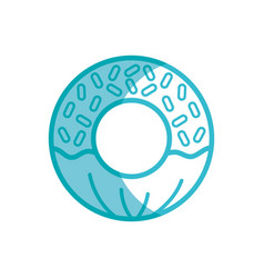 Silhouette delicious and sweet donut desert vector