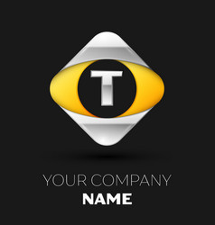 silver letter t logo in the silver-yellow square vector image