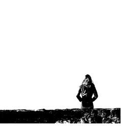 single sitting woman vector image