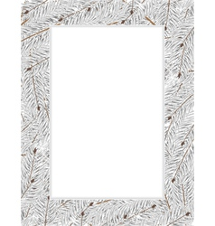 Snow covered fir tree branches vector image