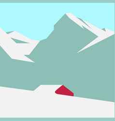 Snowy mountain landscape vector