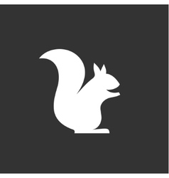 squirrel sits logo in monochrome vector image