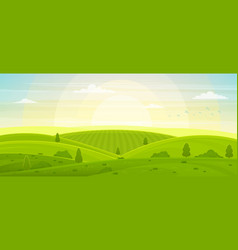 Sunny rural landscape with hills and fields at vector