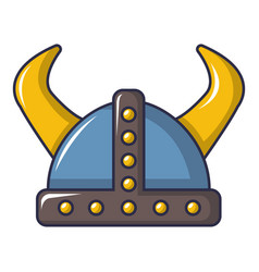 swedish viking helmet icon cartoon style vector image