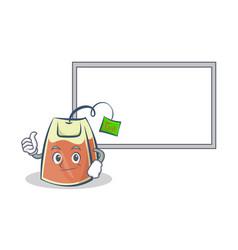 Tea bag character cartoon with board and okay vector