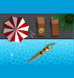 Top view of modern resort and woman in swimming vector