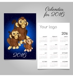 Two-sided calendar with symbol of the year monkeys vector image