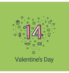 Valentines day green heart and 14 date vector image