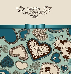 Valentines greeting card with heart pattern vector image