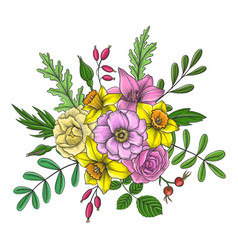 Vintage floral composition vector