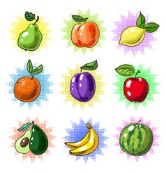 vintage pop art fruit patch or sticker set vector image