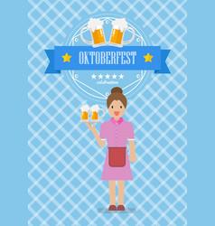 waitress character serving glass beer vector image