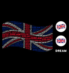 Waving british flag collage of dream word items vector