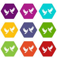 wedding doves icon set color hexahedron vector image