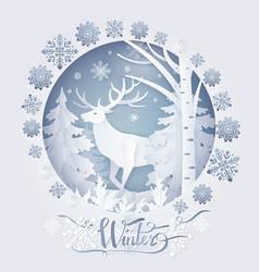 winter deer in forest poster vector image