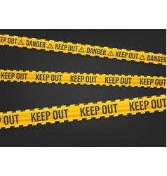 Yellow and black tape with keep out inscription vector