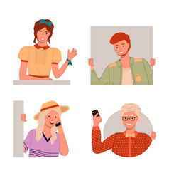 young guys and girls waving hands talking phone vector image