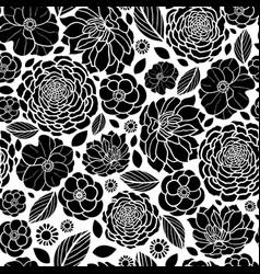 black and white mosaic flowers seamless vector image vector image