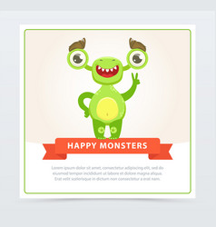 cute funny green monster showing victory sign vector image vector image