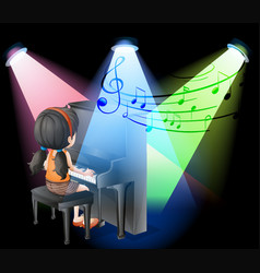 girl playing piano on stage vector image vector image