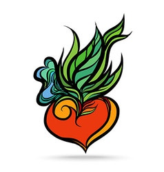 Heart Leaf Hand Drawing Color vector image