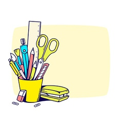 holder with stationery set in frame vector image