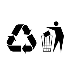 Litter and Recycle Sign vector image