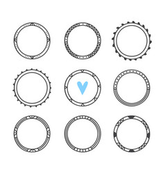 set of 9 hand drawn frames cute circle wreaths vector image vector image