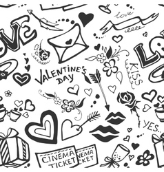 Valentines day doodle pattern vector image