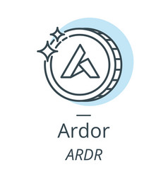 ardor cryptocurrency coin line icon of virtual vector image vector image