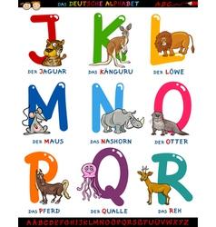 Cartoon german alphabet with animals vector