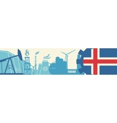 Energy and power icons set iceland flag vector