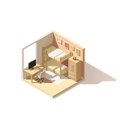 isometric low poly children room icon vector image vector image