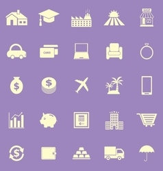 Loan color icons on violet background vector