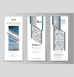 roll up banner stands geometric flat style vector image