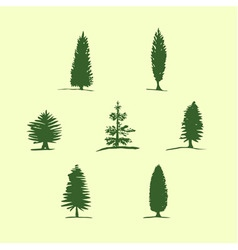 Set of hand drawn sketch trees - pine fir vector