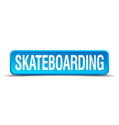 Skateboarding blue 3d realistic square isolated vector