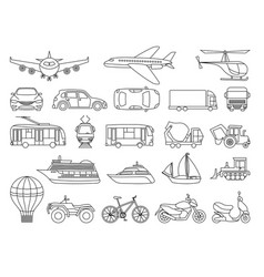 toy transport set to be colored coloring book to vector image