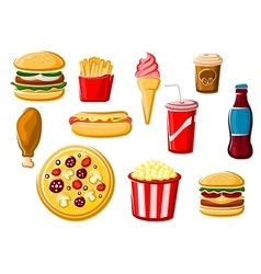 Fast food and beverage icons vector image