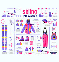 Flat style skiing winter sport infographic data vector
